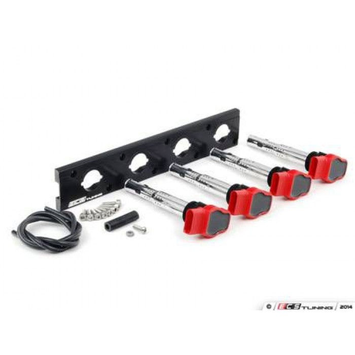 ECS Tuning 2.0T Coil Pack Conversion Kit ANODISED BLACK - 1.8T Push in coil models