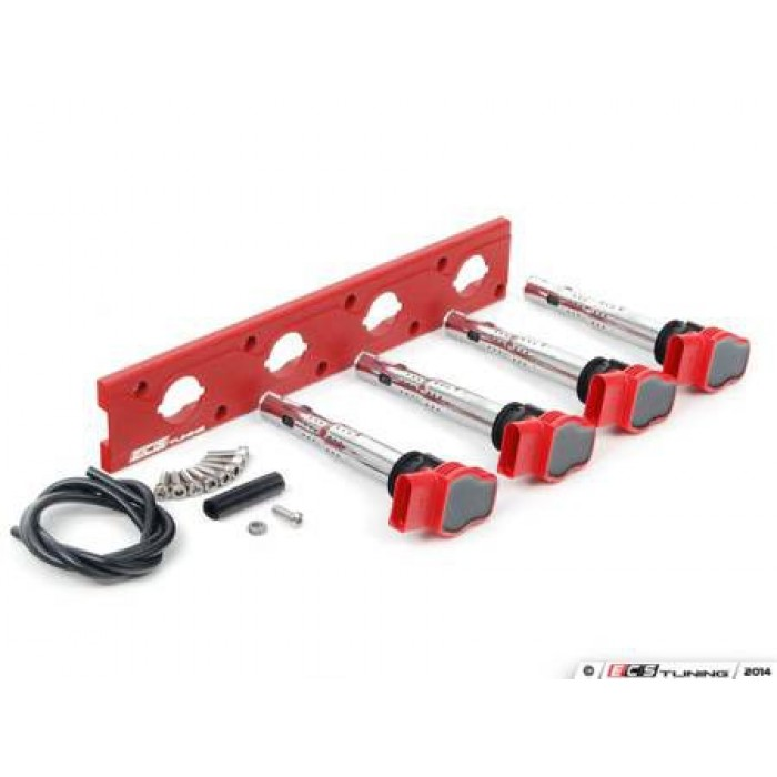 ECS Tuning 2.0T Coil Pack Conversion Kit RED - 1.8T Push in coil models