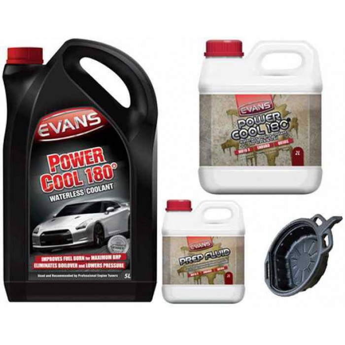Evans Power Cool 180° Waterless Engine Coolant 7 Litre Conversion Kit with FREE Oil Drain Pan