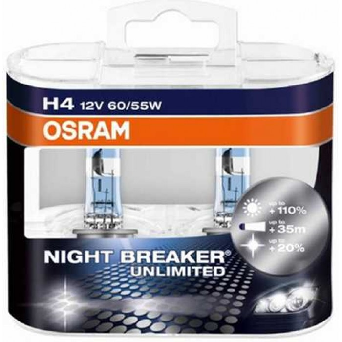H7 OSRAM Night Breaker Unlimited +110 Light Xenon Look Headlight Bulbs (Pair)